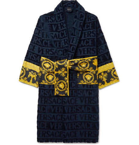 Logo Jacquard Panelled Cotton Terry Robe by Versace