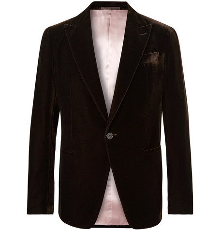 8a345cbf235 Shoptagr | Dark Brown Velvet Tuxedo Jacket by Berluti