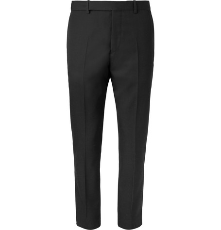 Black Slim Fit Wool Twill Suit Trousers by Berluti