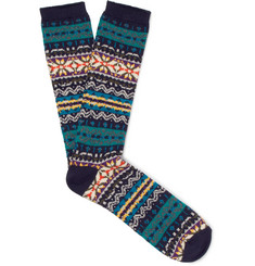 Anonymous Ism Fair Isle Cotton-Blend Jacquard Socks