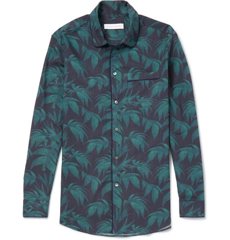 DESMOND & DEMPSEY Men'S Byron Palm Leaf-Print Lounge Shirt in Navy