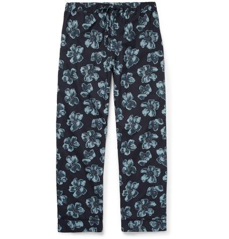 Desmond & Dempsey Victor Printed Cotton Pyjama Trousers - Blue