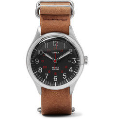 Timex - Waterbury United Stainless Steel and Stonewashed-Leather Watch