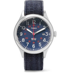Timex - Waterbury United Stainless Steel and Stonewashed-Canvas Watch