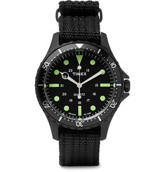 Timex - Navi Harbor Stainless Steel and Nylon-Webbing Watch