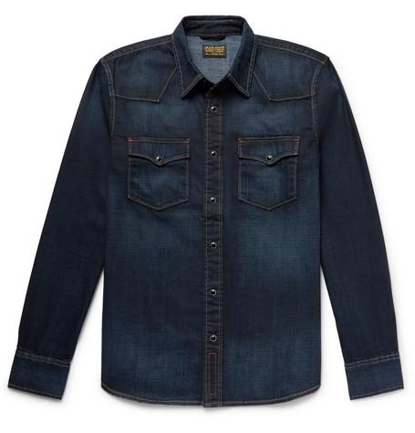 Vente Pas Cher Meilleur Magasin Pour Obtenir Kevin Selvedge Cotton-chambray Shirt - NavyJean Shop Acheter Pas Cher Vraiment Z439sNiRfz