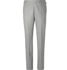 Kingsman-Light-Grey Slim-Fit Mélange Wool-Flannel Suit Trousers