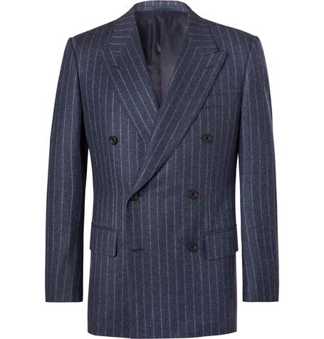 Blue Double Breasted Pinstriped Wool Suit Jacket by Kingsman