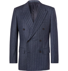 Kingsman-Blue Double-Breasted Pinstriped Wool Suit Jacket