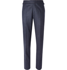 Kingsman-Blue Slim-Fit Pinstriped Wool Suit Trousers