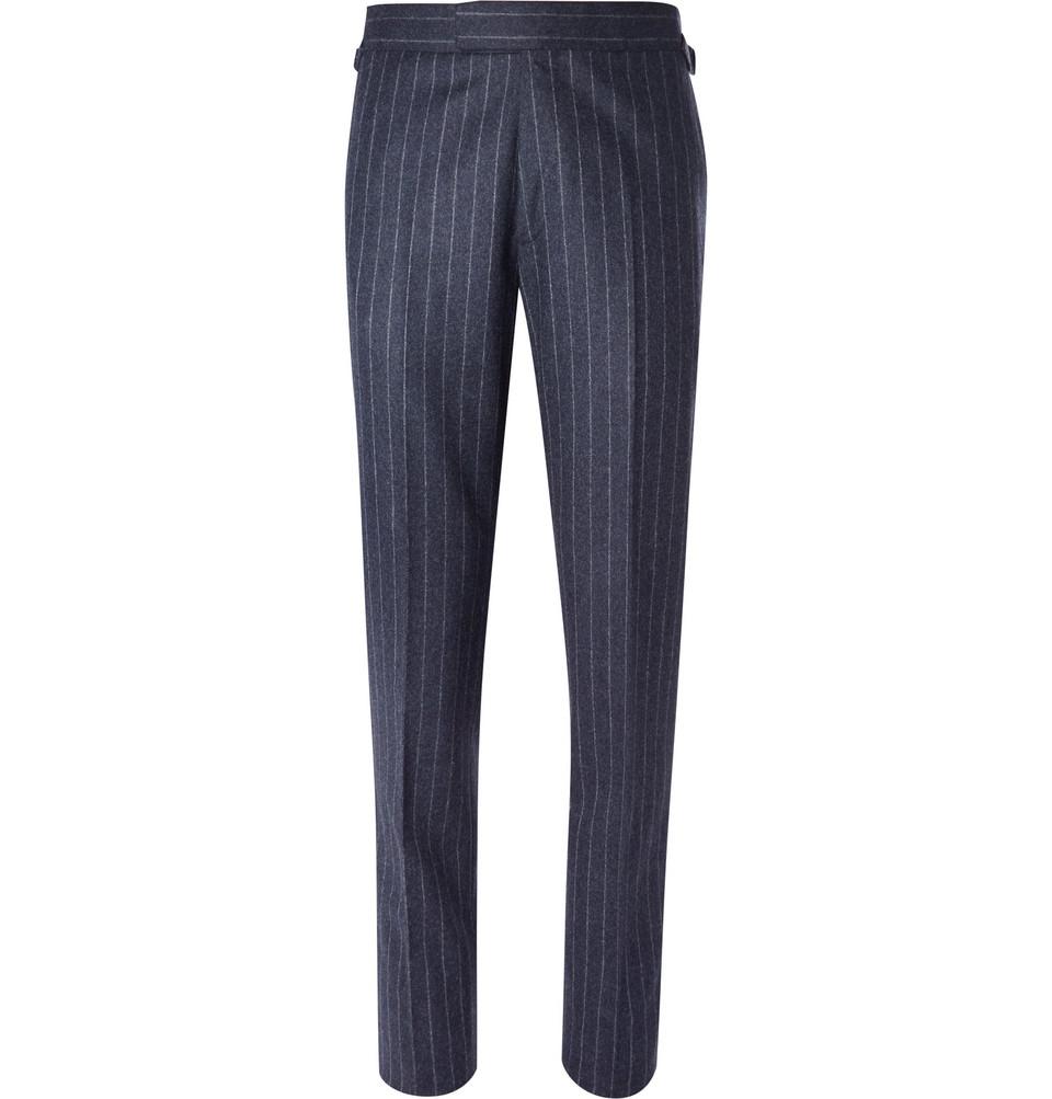 Billede af Blue Slim-fit Pinstriped Wool Suit Trousers - Blue
