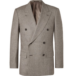 Kingsman-Brown Double-Breasted Prince Of Wales Checked Wool Suit Jacket