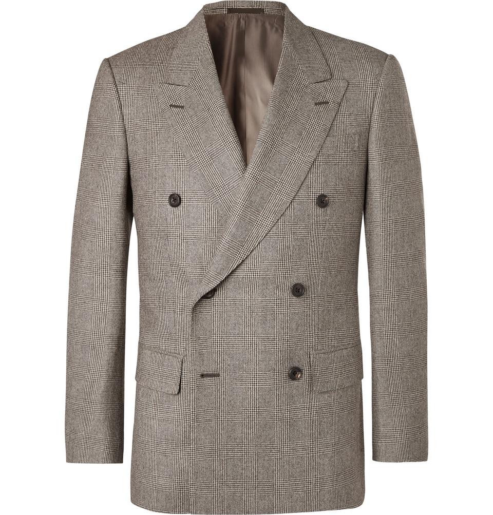 Billede af Brown Double-breasted Prince Of Wales Checked Wool Suit Jacket - Brown