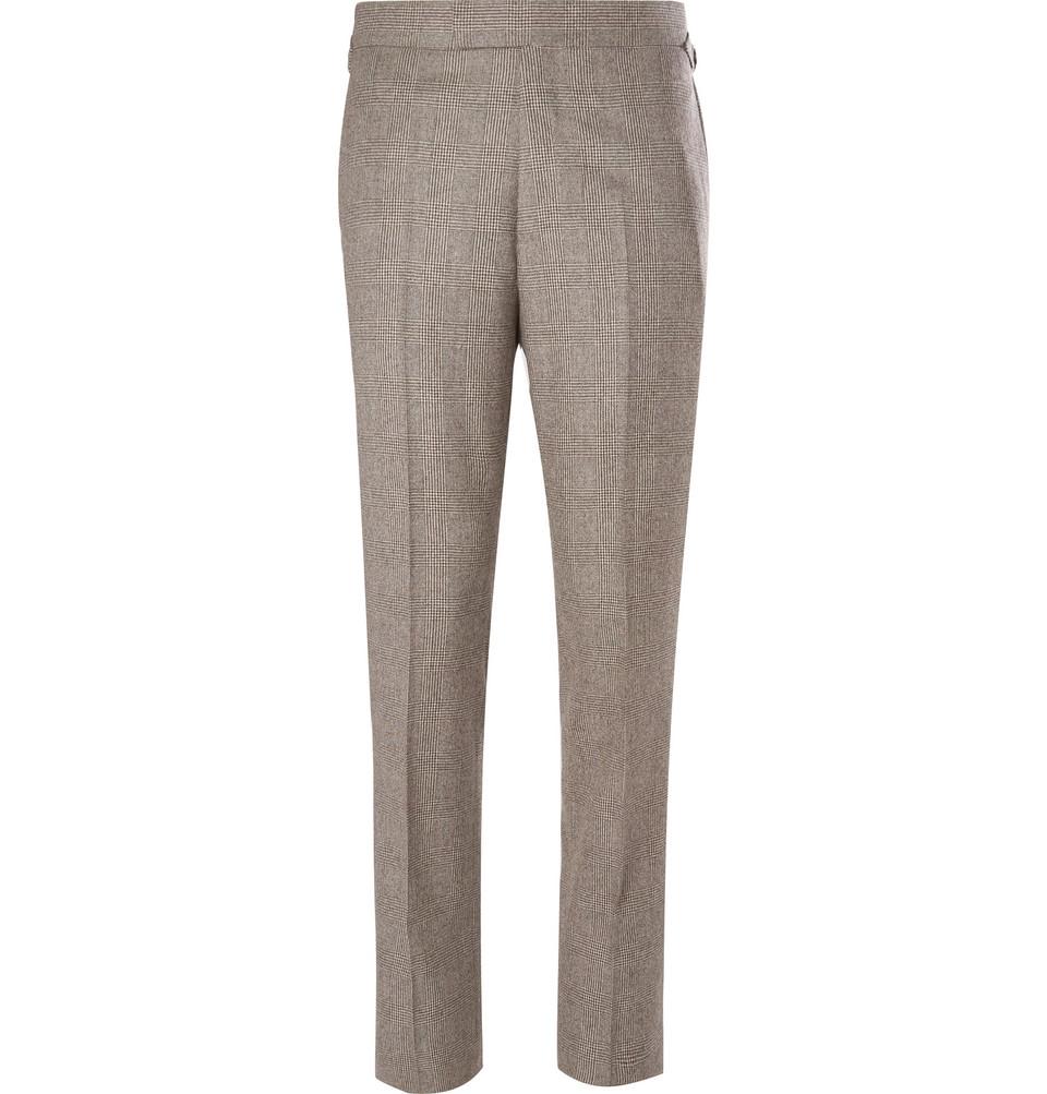Billede af Brown Slim-fit Prince Of Wales Checked Wool Suit Trousers - Brown