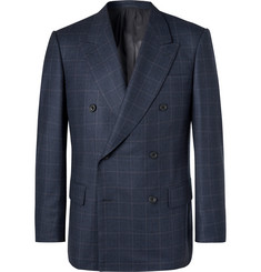 Kingsman-Navy Double-Breasted Prince of Wales Checked Wool Suit Jacket
