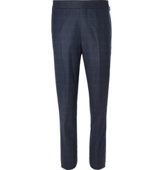 Kingsman-Navy Slim-Fit Prince of Wales Checked Wool Suit Trousers