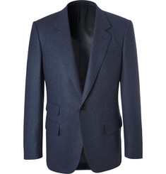 Kingsman Blue Slim-Fit Mélange Wool-Flannel Suit Jacket