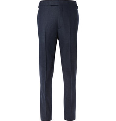 Kingsman Blue Slim-Fit Mélange Wool-Flannel Suit Trousers