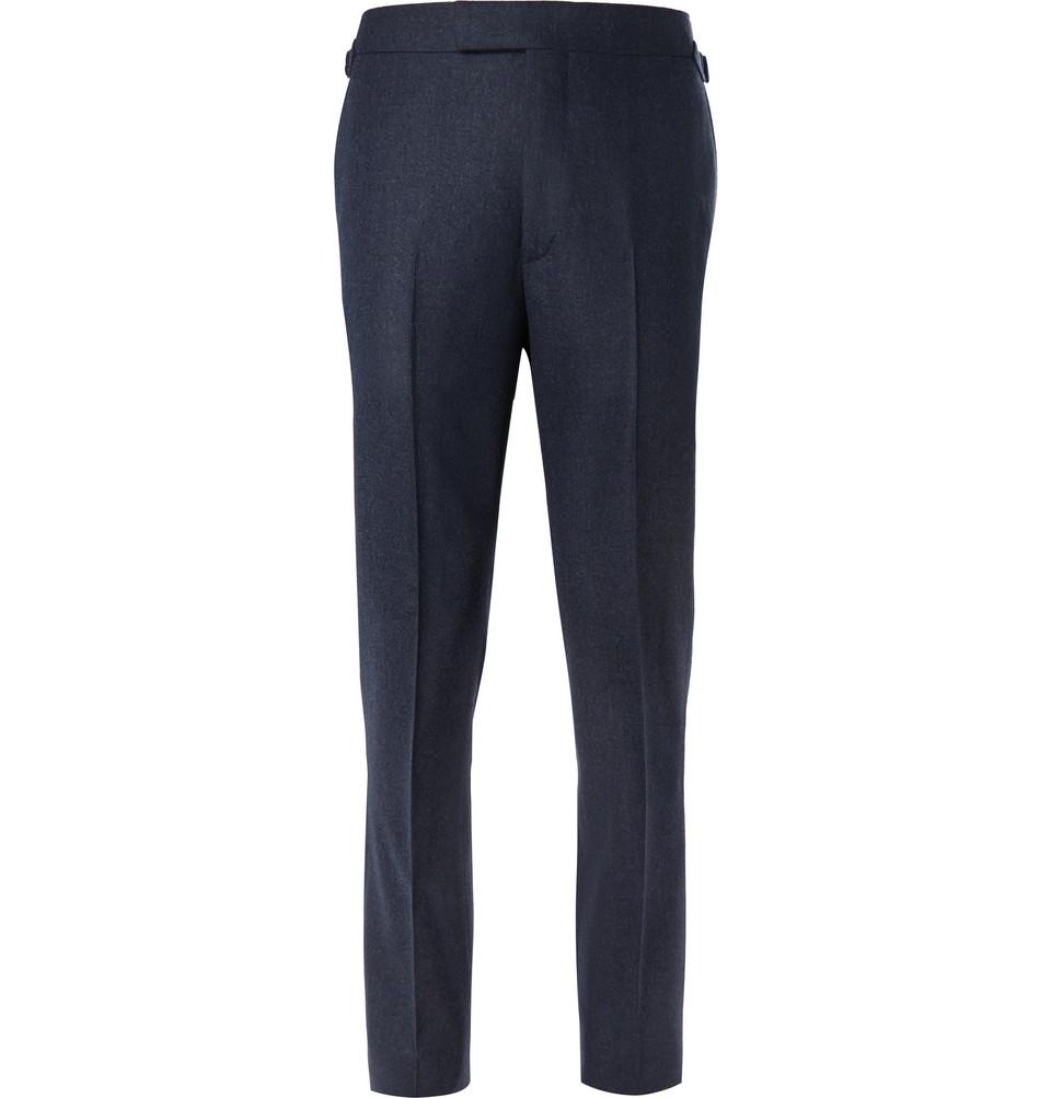 Billede af Blue Slim-fit Mélange Wool-flannel Suit Trousers - Blue