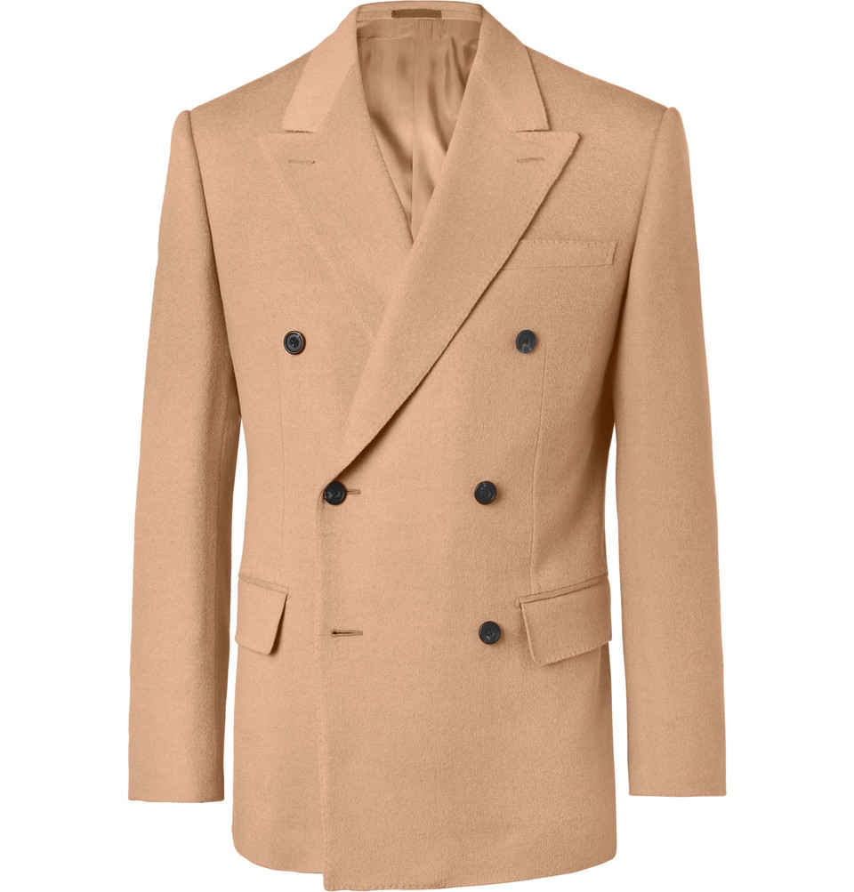 Double-breasted Camel Hair Blazer - Camel