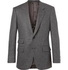 Kingsman Grey Slim-Fit Herringbone Wool and Cashmere-Blend Blazer