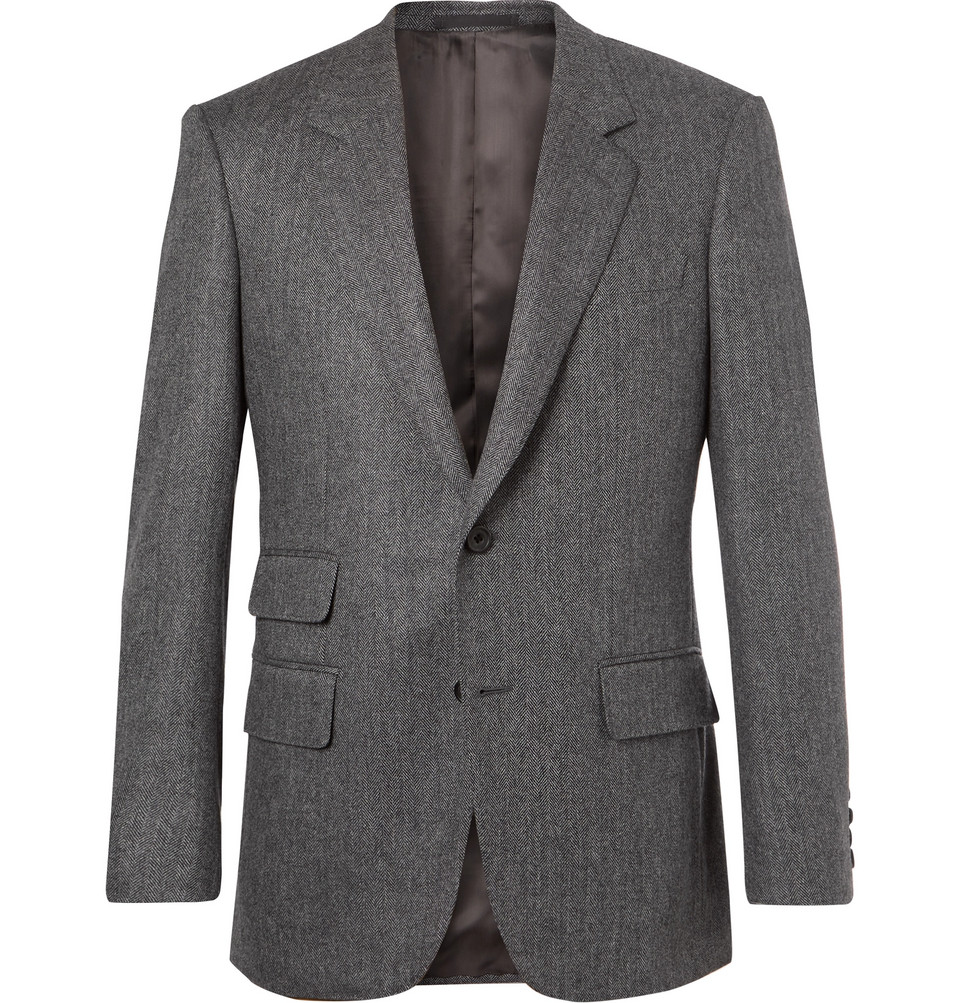 Grey Slim-fit Herringbone Wool And Cashmere-blend Blazer - Gray