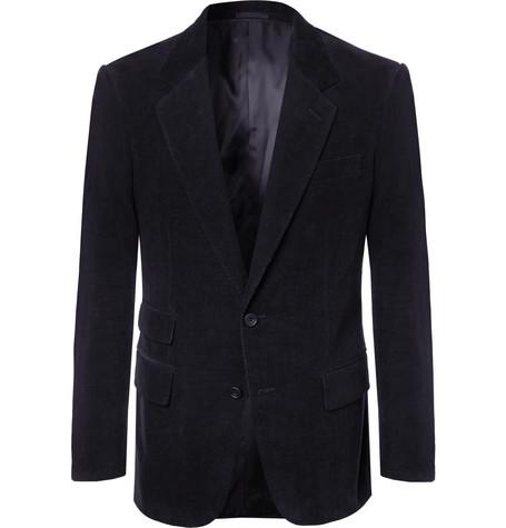 KINGSMAN Midnight-Blue Stretch-Cotton And Cashmere-Blend Corduroy Suit Jacket - Midnight Blue