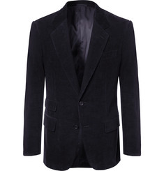 Kingsman - Midnight-Blue Stretch-Cotton and Cashmere-Blend Corduroy Suit Jacket