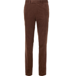 Kingsman Brown Slim-Fit Stretch-Cotton and Cashmere-Blend Corduroy Suit Trousers