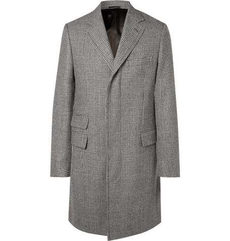 KINGSMAN Prince Of Wales Checked Wool Overcoat - Gray