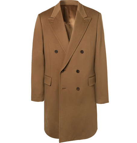 KINGSMAN Double-Breasted Cashmere And Wool-Blend Overcoat - Brown
