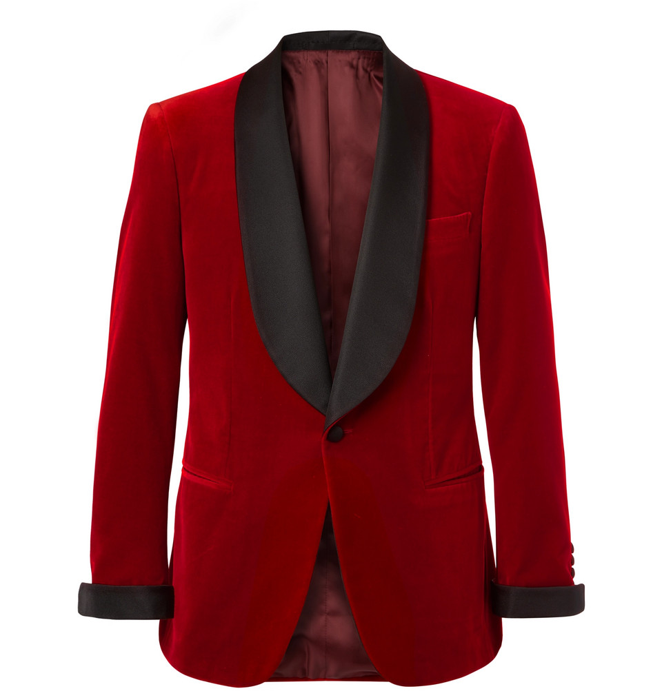 Red Slim-fit Twill-trimmed Cotton-velvet Tuxedo Jacket - Red