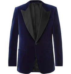 Kingsman Navy Slim-Fit Satin-Trimmed Cotton-Velvet Tuxedo Jacket