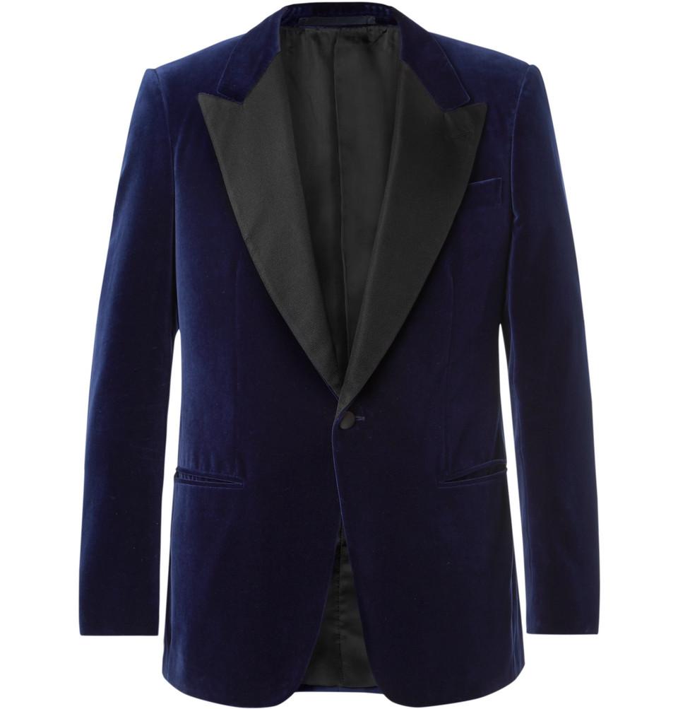 Navy Slim-fit Satin-trimmed Cotton-velvet Tuxedo Jacket - Navy