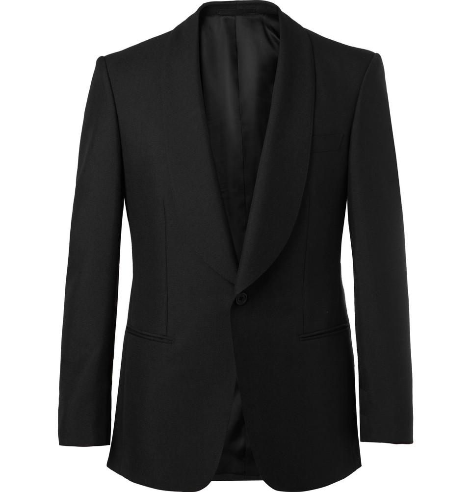 Billede af Black Slim-fit Wool And Mohair-blend Tuxedo Jacket - Black