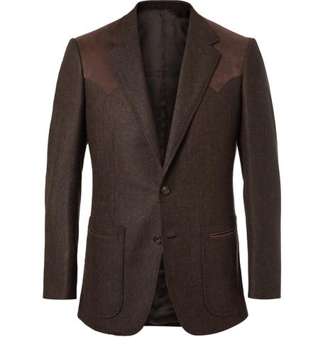 KINGSMAN Brown Slim-Fit Alcantara-Trimmed Herringbone Wool And Cashmere-Blend Blazer - Brown