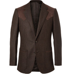 Kingsman Brown Slim-Fit Alcantara-Trimmed Herringbone Wool and Cashmere-Blend Blazer