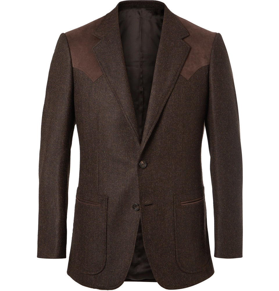 Brown Slim-fit Alcantara-trimmed Herringbone Wool And Cashmere-blend Blazer - Brown