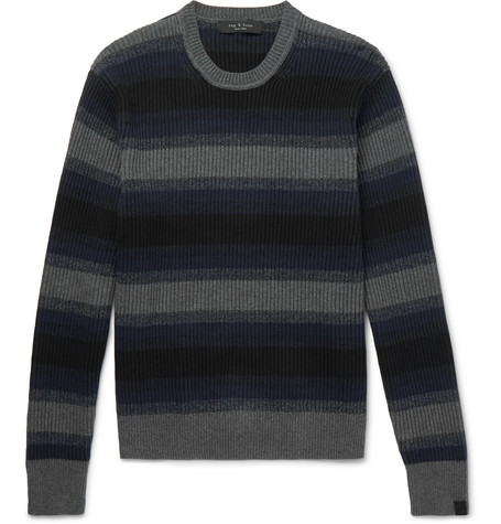 Blend amp; Cashmere rag Cotton Striped Sweater and bone Ribbed 0wdw1Y