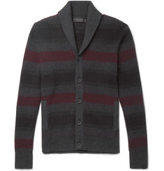 rag & bone - Shawl-Collar Striped Ribbed Cotton and Cashmere-Blend Cardigan