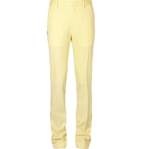 Webbing Trimmed Virgin Wool Twill Trousers by Calvin Klein 205 W39 Nyc