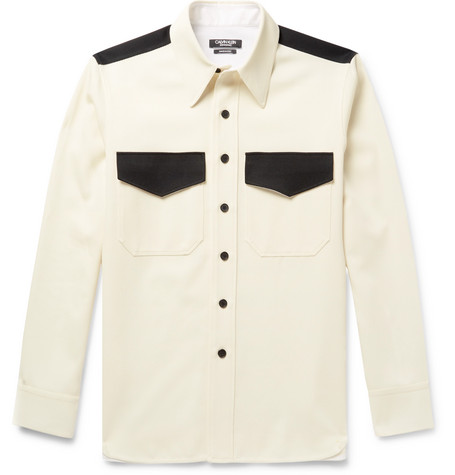Contrast Trimmed Wool Twill Shirt by Calvin Klein 205 W39 Nyc