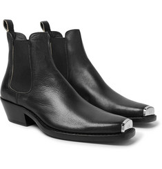 CALVIN KLEIN 205W39NYC - Chris Metal Toe-Cap Full-Grain Leather Boots