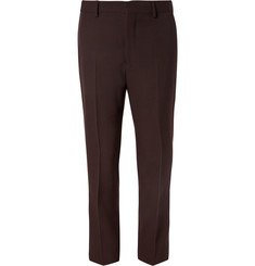 CALVIN KLEIN 205W39NYC Slim-Fit Stripe-Trimmed Wool-Gabardine Trousers