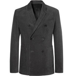 Mr P. Dark-Grey Slim-Fit Double-Breasted Cotton-Corduroy Blazer