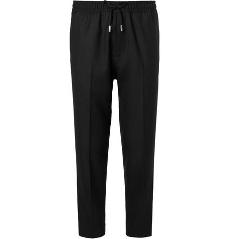 Slim Fit Wool Twill Drawstring Trousers by Mr P.
