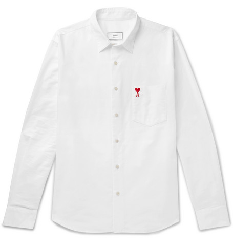 Logo Embroidered Cotton Oxford Shirt by Ami
