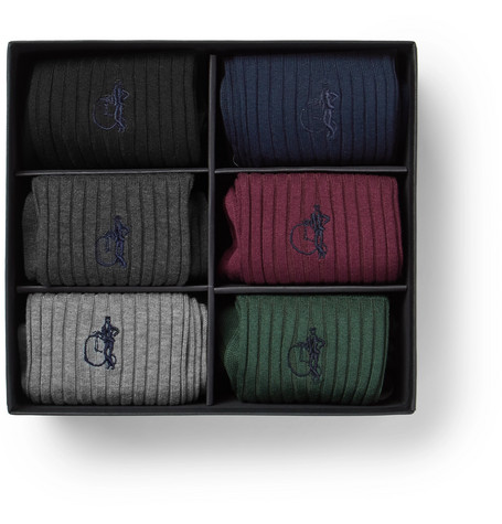 The Sartorial Six Pack Stretch Cotton Blend Socks by London Sock Co.