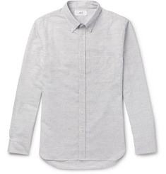 Mr P.-Button-Down Collar Striped Brushed Cotton and Linen-Blend Oxford Shirt