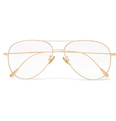 Cutler and Gross Square-Frame Aviator-Style Gold-Plated Optical Glasses